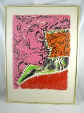 ANDRE MASSON MID CENTURY COLOR LITHO UNTITLED, CIRC