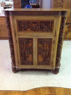 George Zee Amp Co Hong Kong Older Carved Bar Cabinet