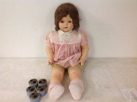 "Circa 1928 Effanbee ""mae Starr"" Phono Doll With 6"
