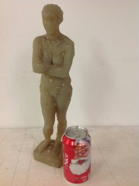 Female Nude Statue, Wax Maquette, Signed Illedgibly On
