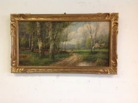 19th C O/c Landscape, Signed Lambert, Canvas Measures