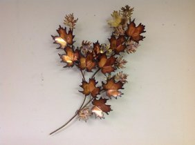 Curtis Jere 1971 Brass Wall Sculpture With Leaves,