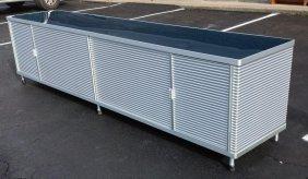 Designer Modern Corragated Aluminum Credenza With Blue
