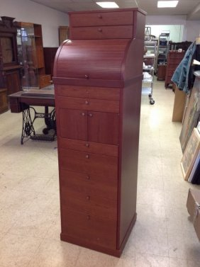 Contemporary Custom Made Cherry Storage Cabinet With