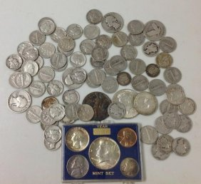 Mixed United States Silver Coin Lot & 40 Nickels