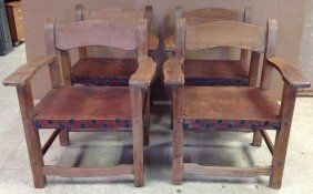 (4) William Spratling Armchairs With Leather Seats