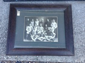 Early Football Team Photograph, Quilted Pants,