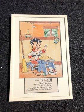 Little Jack Horner W/c, Pen And Ink Illustration,