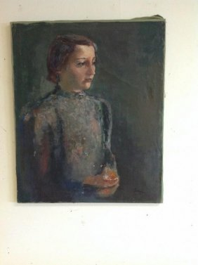 Frederic Serger O/c Portrait Of Woman, Signed Lower