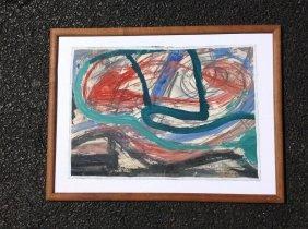 Rolph Scarlett Abstract Gouache On Canvas Laid On
