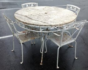 Decorative Iron Outdoor Table With 4 Chairs With Stone