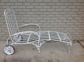 Decorative Iron Chaise, As Pictured