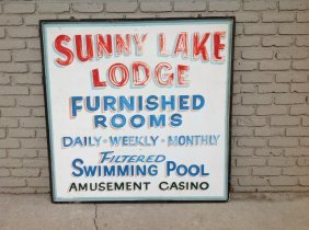 Sunny Lake Lodge Large Tin Sign, In Wood Frame, From