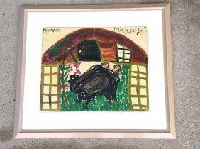 Outsider Art Artist Annie Murray Gouache On Board 2