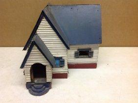 "Folk Art Wooden House, Measures 16"" High, 17"" Across,"