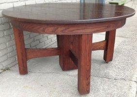 "54"" Mission Oak Round Dining Table W/5 Leaves, Split"