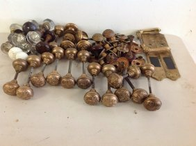 Boxlot Of Older Decorative Brass Door Knobs And