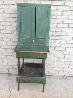 Primitive Lift Top Desk In Old Green Paint, 2 Doors Up