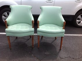 Pair Of 1950's Turquiose Armchairs, Vinyl, Nice Overall