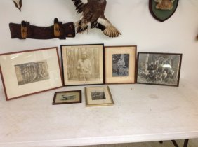 Boxlot Framed Hunting Photographs Including Deer, Fish,