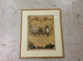 1908 Framed Marriage Certificate With Photos, As