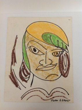 John G Ernst Double Sided Drawings, Crayon Face & Bird