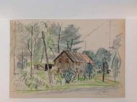 Frederick Serger Crayon Drawing Of House With Trees,
