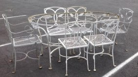 Salterini Iron Set With 6 Chairs Leaf Pattern