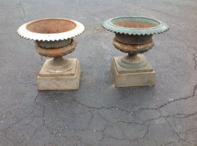 Pair Victorian 4 Part Cast Iron Urns