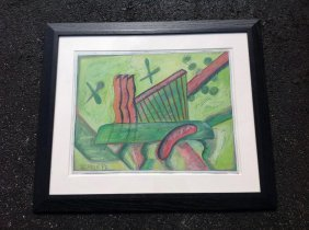Rolph Scarlett Abstract Gouache Nicely Framed And Matte