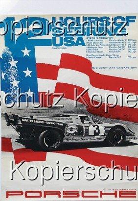 """PORSCHE Racing Poster """"12 Hours Of Sebring 1971"""","""