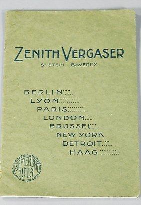 ZENITH Sales Catalog Carburetor From September 1913