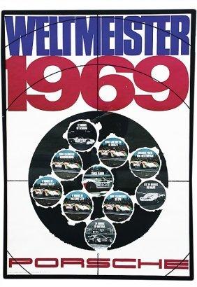 "PORSCHE Racing Poster ""Weltmeister"" 1969, Study S"