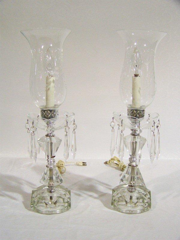 4 Pair Vintage Crystal Hurricane Lamps Lot 4