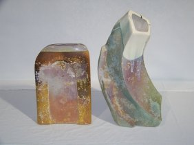 "Pair Of Modern Signed ""Evans"" Abstract Pottery Vase"