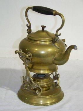 35 Antique Ss Amp Co Brass Teapot Amp Stand W Burner Lot 35