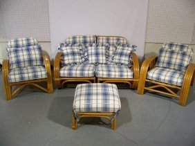 5 Pc. Vintage Rattan 2 Pc.Sofa, Chair,Chaise & Ott