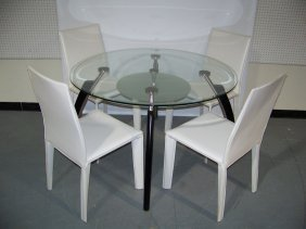 Great Modern Chrome & Leather Dining Suite