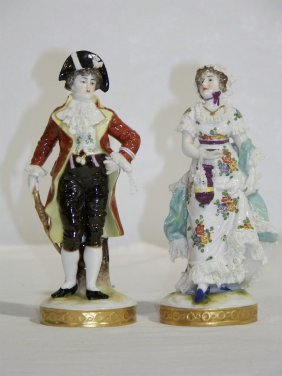 Pair Of Early Sitendorf Porcelain Figures