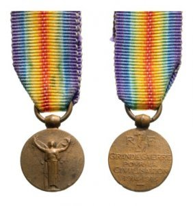 Miniature Of The French Victory Medal 1914-1918