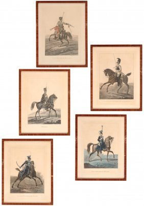 Nice Serie Of 5 Original Engravings In Colour