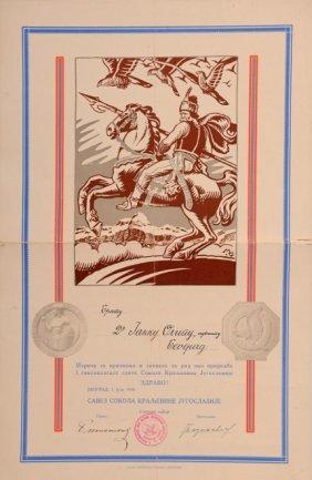 Diploma From The Belgrade Sokol Society.