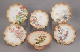 Set Of Hand Painted Plates And A Compote