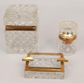Crystal And Brass Mounted Smoking Set
