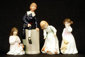 "Four Royal Doulton Figurines ""Let's Play"" HN 3397,"