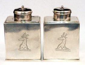 Pair Of Britannia Standard Queen Anne Silver Tea C