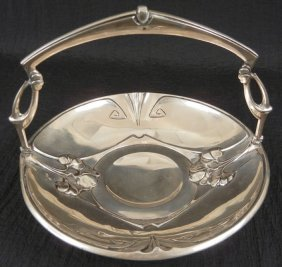 German 800 Silver Art Nouveau Handled Basket, Gebr