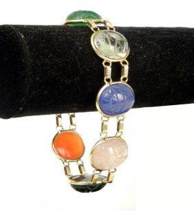 Gold Scarab Bracelet, 14k Yellow Gold Bracelet Set