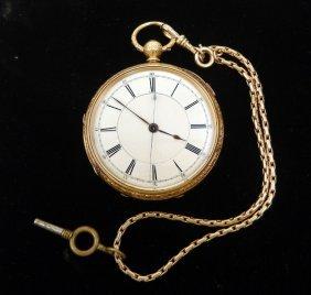 Gold Overlay Key Wind Pocket Watch, Heavy 14k Gold