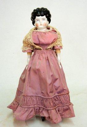 Large Vintage German China Shoulder Head Doll, Pain
